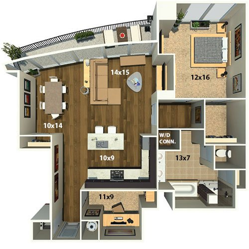 1 Bed, 1 Bath With Den Floor Plan   Mezzo Apartment Homes In Atlanta,